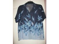 Nice Ladies Sheer Blue Patterned Overshirt Size 42