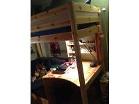 Sturdy Wooden High Sleeper bed - desk, futon and storage