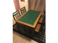 Dining table and 4 chairs - Dark green tiles with wood