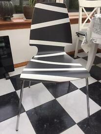 Black & White Chrome-Plated Chair