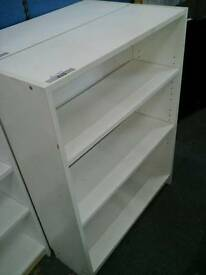 Small white 3 shelved bookcase