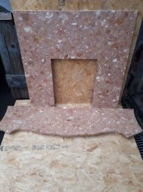 Good quality marble fire surround in salmon