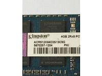 Kingston PC3-10600 1333MHz 6GB 4 + 2 gb of laptop memory