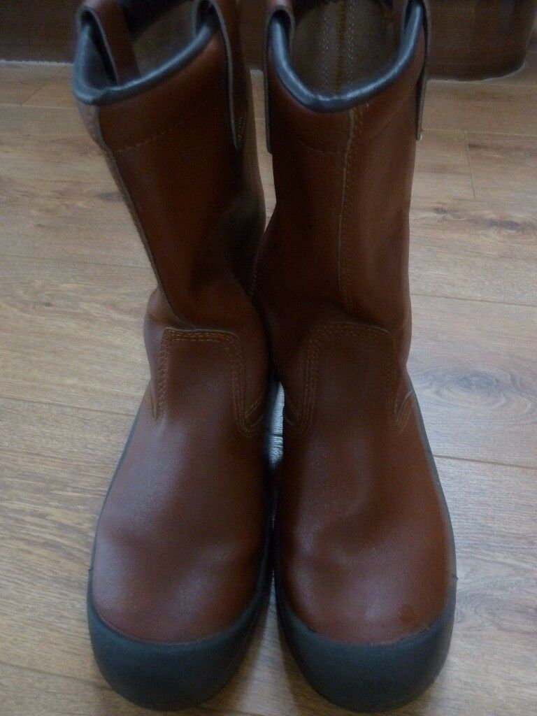 NEW TAN LEATHER RIGGER BOOTS WITH STEEL TOECAPS SIZE 11
