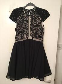 Black/lace skater dress