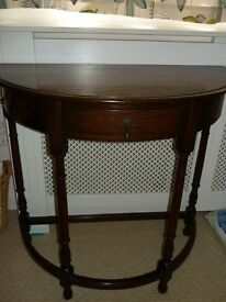 Solid Mahogany Edwardian Demi - Lune Semi Circular Table
