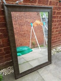 Leather effect mirror