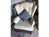 2 Hardwood fireside/armchairs with loose cushions