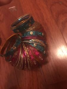 Pink and blue children's bangles