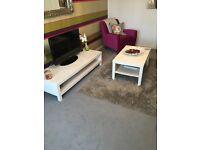 Large grey shaggy rug