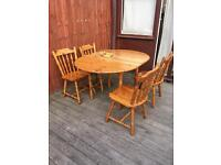 Extendable pine farmhouse dining table & 4 chairs, bargain can deliver