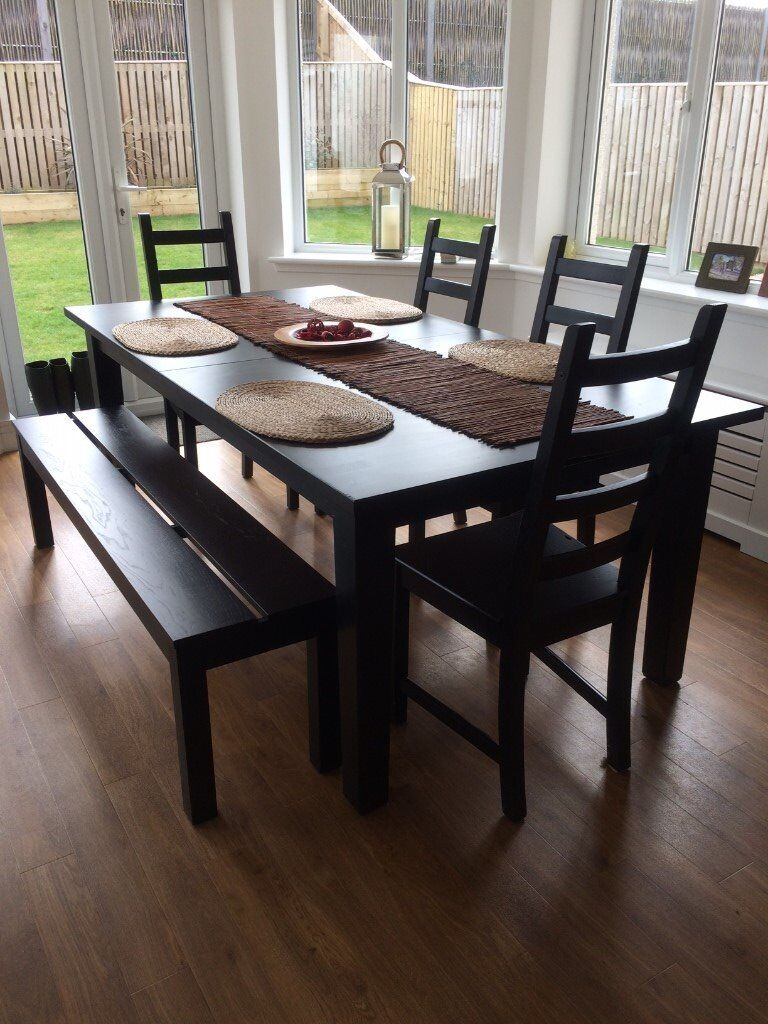 Dark Wood Dining Table Bench And Six Chairs
