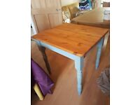 sweet solid old pine table shabby chic hand painted