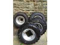 YAMAHA RAPTOR 700 DOUGLAS CHROME ALLOYS WITH NEW OFF ROAD TYRES E MARKED 660 350 250 yfz 450 r