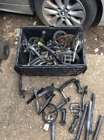 Joblot of bicycle cranks and seat post (spares or repairs)
