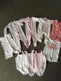 Bundle baby girls 0-3 baby grows, vests and rompers
