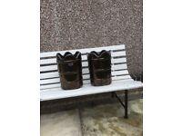 Two brown glazed terracotta frost free garden pots