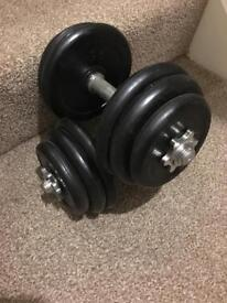 Dumbbell set heavy duty rubber weights.
