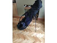 Left handed golf clubs and bag