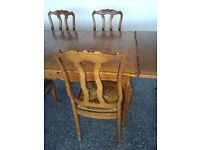 Vintage light oak table, 6 chairs, matching cocktail cabinet, parquet top, french provincial