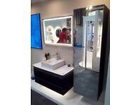 Dansani Zaro 100cm Vanity Unit, LED Mirror & Tall Unit Lacquered Matt Black RRP £5340