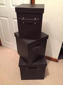 BROWN FAUX LEATHER STORAGE BOXES X 3