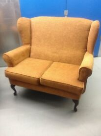 QUEEN ANNE STYLED TWIN SEATER SOFA COLOUR GOLD