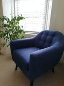 Midcentury style MADE armchair (Ritchie) in Scuba Blue
