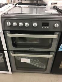 BRAND NEW HOTPOINT ULTIMA SILVER 60CM GAS COOKER WITH OVEN & GRILL