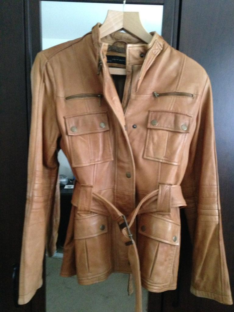 Zara Ladies Tan Leather Jacket Size L