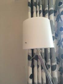 Floor lamp, white shade chrome base