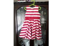 Girl's Mothercare Red and White Striped Dress, Ages 7-8