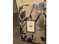 Brand New Dunelm Mill Zen Blue Jacquard Eyelet Curtains (Still sealed in packaging)