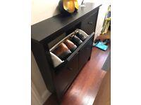 IKEA HEMNES Shoe cabinet/storage with 4 compartments, Black, 107x22x101 cm