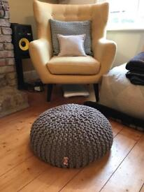 Cable Knitted Pouffe Footstool Beanbag In Grey