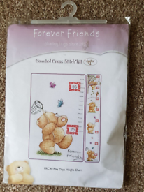 FOREVER FRIENDS COUNTED CROSS STITCH PLAY DAYS HEIGHT CHART KIT - NEW