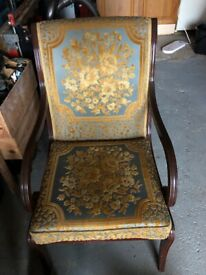 Occasional chair - mahogany with embroidered cushion seat and back
