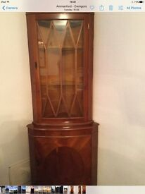 Wooden corner unit,excellent condition.with lock and key to bottom cupboard.