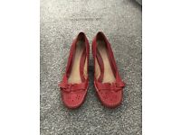 Clarkes red leather size 5 and half low kitten heel 2 inch
