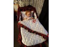 Red doll silver cross pram for sale