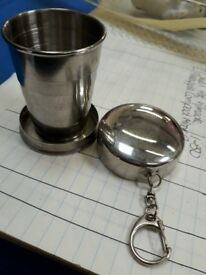 Fold up silver drink cup flask glass