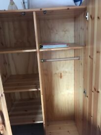 Solid Pine Nursery wardrobe with Bear face handles