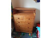 Bedroom drawers with optional baby change top.