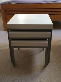 Ikea nest of 3 white wooden top side tables