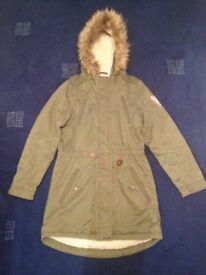 Girl's winter coat from George- Khaki with fur trim. Age 11-12
