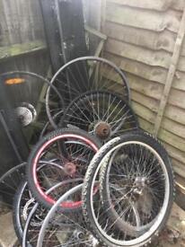 Mixture of bike wheels