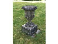 Large Antique Garden Urn and Base