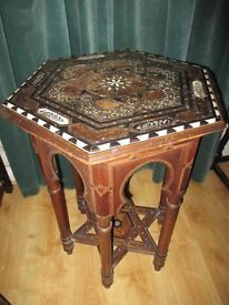 Hexagonal carved inlaid occasional table