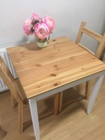 Pine kitchen table & two chairs
