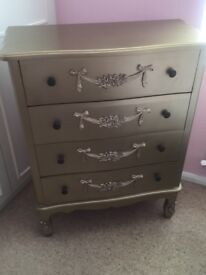 Gold coloured set of drawers